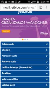Jetblue sitio móvil